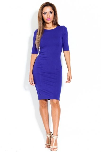 CQ Sleeved Cutout Knit Dress Blue
