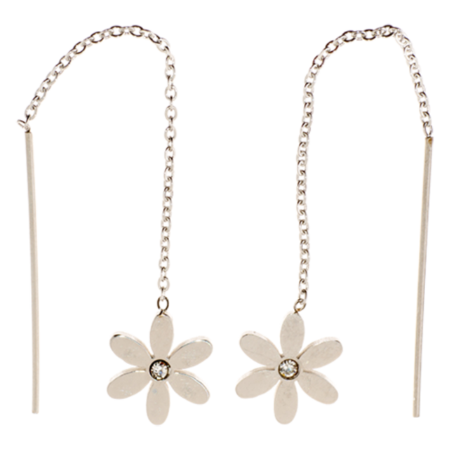 EARRINGS Threads Daisy CZ Silver