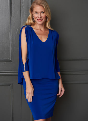 Joseph Ribkoff V Neck Layered Dress