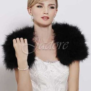 JADORE Feathered Bolero Black
