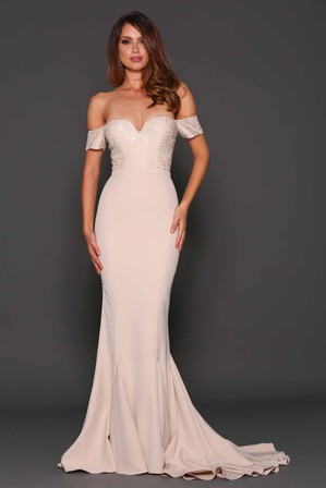 Nude Lace Bodice Mermaid Gown