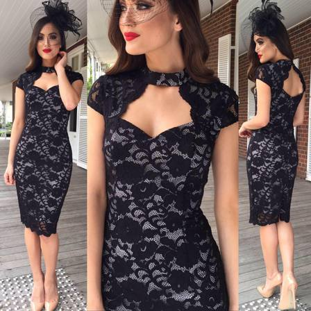 Navy Lace Fitted Dress
