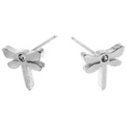 STUD EARRINGS Dragonfly CZ Steel SSS