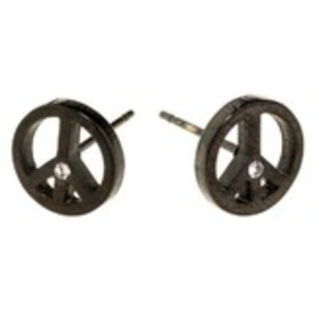 STUD EARRINGS Peace Black Steel SSS