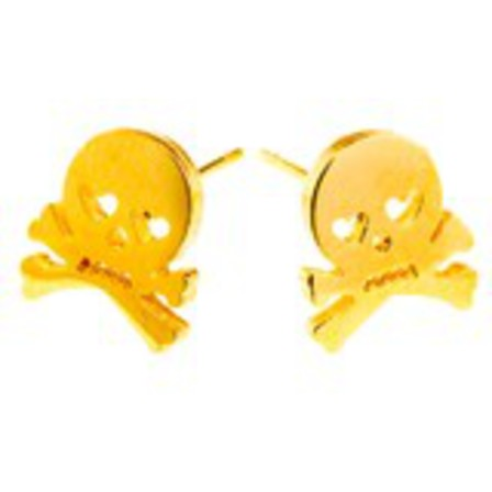 STUD EARRINGS Skull & Crossbones Gold