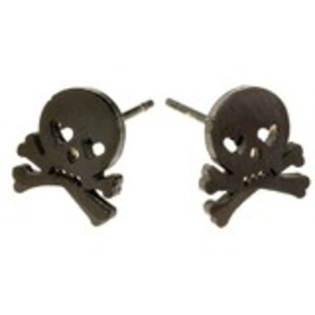 STUD EARRINGS Skull & Crossbones Black Steel SSS