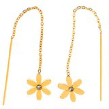 STUD EARRINGS Threads Daisy CZ Gold