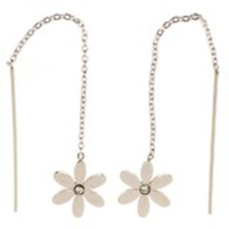 STUD EARRINGS Threads Daisy CZ Steel