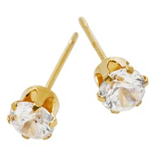 STUD EARRINGS CZ Tiffany Claw Crystal Gold