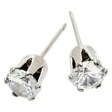 STUD EARRINGS CZ Tiffany Claw Crystal Steel SSS