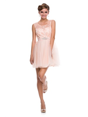CINDERELLA Tulle Cutout Cocktail Peach