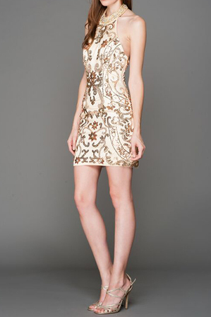 CINDERELLA AC639 Halter Sequin Dress Ivory
