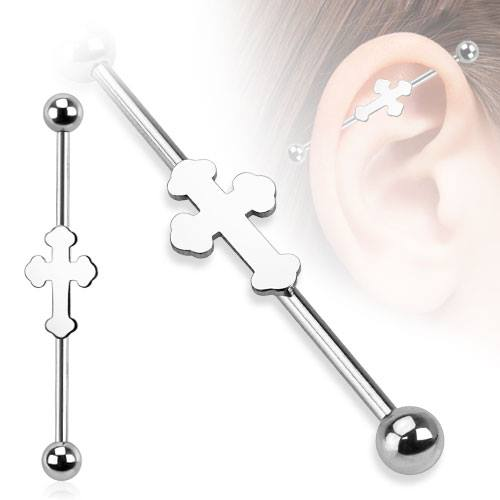 Industrial Barbell SSS 14g (1.6mm) Celtic Cross
