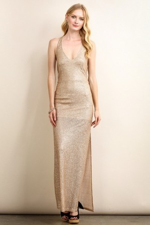 SOIBLU Sequin Halter Gold