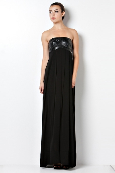 Leather Bodice Chiffon Gown