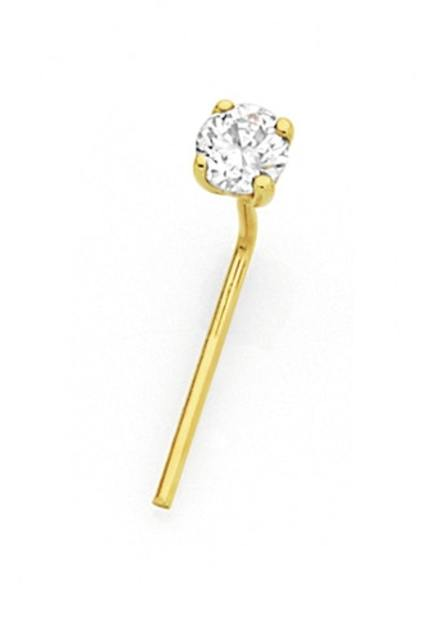 Nose Stud Diamante 22k Gold  20g (0.81mm) Clear Crystal