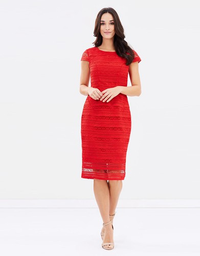 PINK RUBY Mayflower Pencil Dress Red