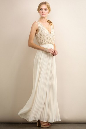 SOIBLU Pleat Gown Ivory