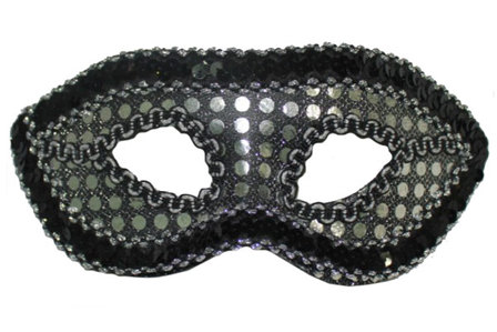 MASQUERADE MASK Black silver sequin