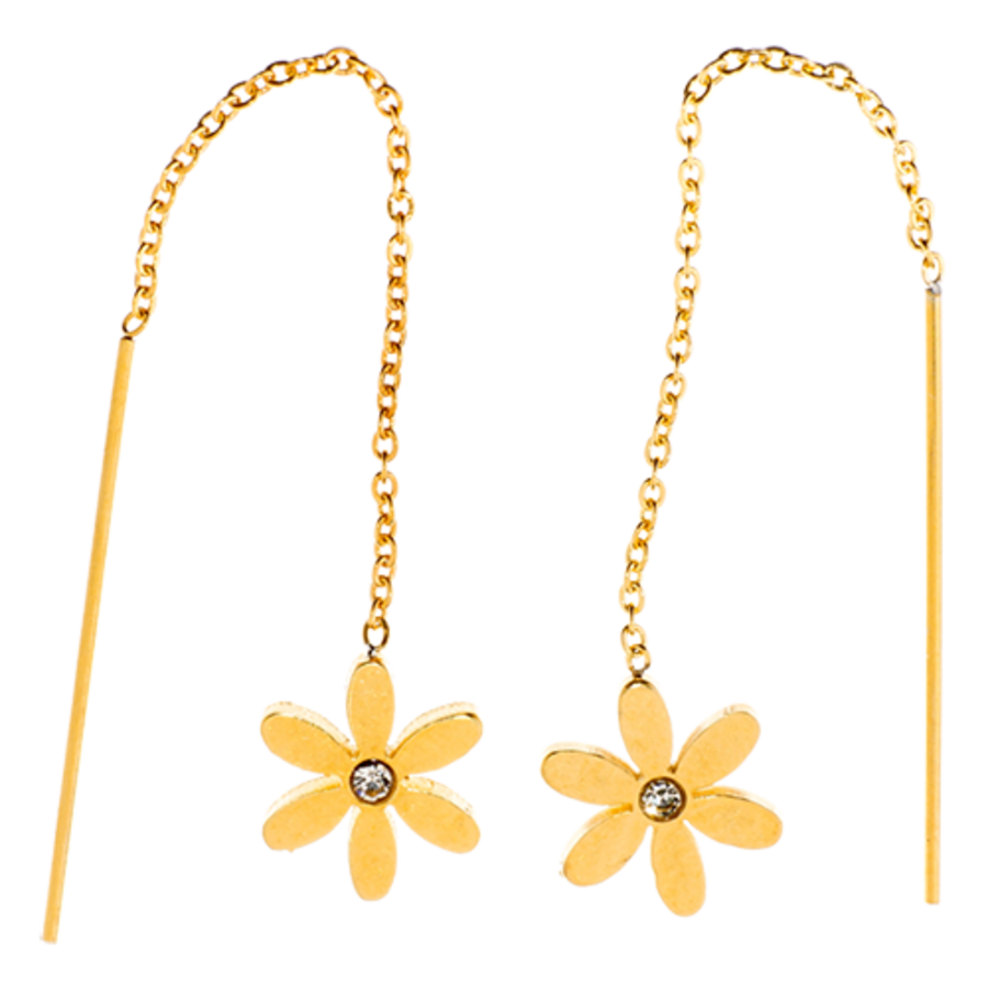 EARRINGS Threads Daisy CZ Gold