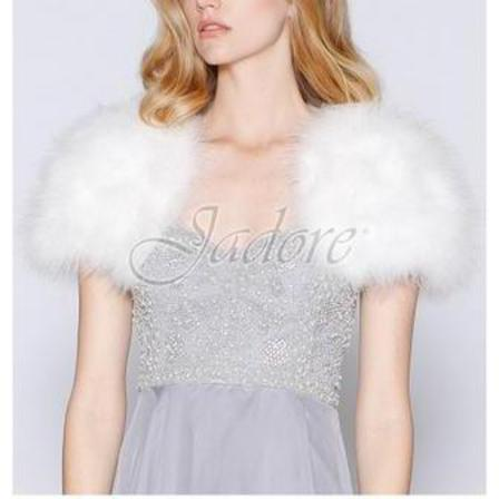 JADORE Feathered Bolero Ivory