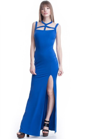 SYMPHONY Multi Strap Split Gown Blue