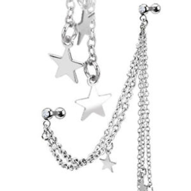 Barbell 16g Helix Ear Star Chain SSS